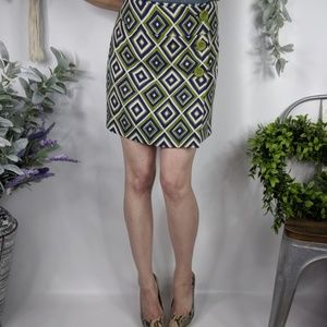 PRADA wool wrap skirt geo diamond print green 0334